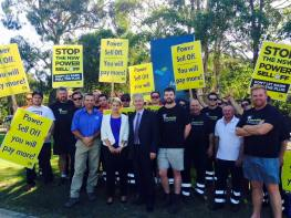 Campaigning to stop the NSW Liberals' power sell-off in Oatley Labor's O'Bray Smith.