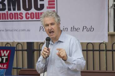 """Blue Mountains Unions Council """"NSW Not For Sale"""" rally in Springwood Town Square, outlining Labor's plans to stop the cuts and rebuild TAFE, stop the full privatisation of disability services and keep the electricity network in community hands."""