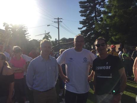 White Ribbon Walk with Luke Foley and Andrew O'Keefe, Coogee Beach Playground.