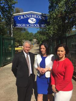 Highlighting the schools maintenance cost blowout under the Liberals at Cranebrook High School with Prue Car MP and Emma Husar MP.