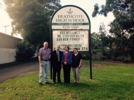 Highlighting the schools maintenance cost blowout under the Liberals at Heathcote High School with Heathcote Labor's Maryanne Stuart.