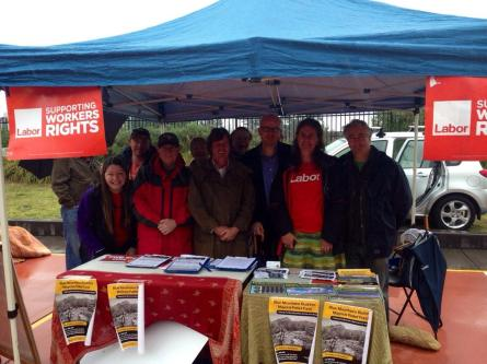 Labor stall at Lawson Magpie Markets, with Mayor Mark Greenhill, Trish Doyle and Labor branch members.