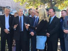 Speaking to media: the NSW Legislative Council passes a Bill calling for the NSW Government to use at least 90% Australian steel in all projects by and for State and Local Government agencies.