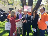 Adam speaking at a public rally in Orange calling for the Liberal-National Government to amend its cruel changes to the NSW workers compensation scheme.