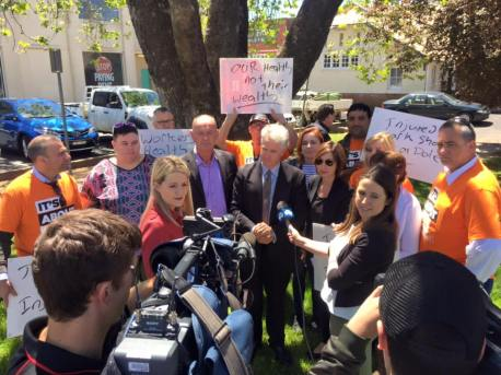 Speaking to the media at a public rally calling for the Liberal-National Government to amend its cruel changes to the NSW workers compensation scheme.