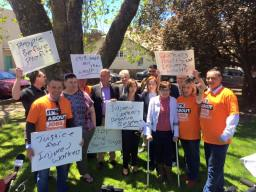 Protesting the Liberal-National Government's cruel changes to the NSW workers compensation scheme.