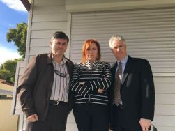 In Granville with Julia Finn MP and local resident Philip Begleys discussing NSW Labor's plan to re-regulate electricity prices.