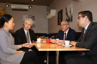 Adam with NSW Labor leader Luke Foley and Ryde Labor's Jerome Laxale visiting small business owner Quynh at her café in Marsfield to discuss the increasing electricity prices and cost of living pressures at home and at work.