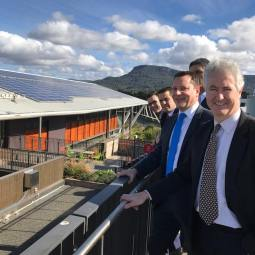 Adam with Shadow Member for the Illawarra Ryan Park MP and Member for Wollongong Paul Scully MP at the University of Wollongong Innovation Campus' Sustainable Buildings Research Centre (SBRC) to discuss Labor's plan to re-regulate electricity and make prices more affordable for Illawarra families and businesses.