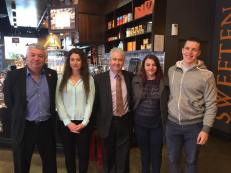 In Wollongong, announcing NSW Labor's policies to protect workers from exploitation and wage theft. Adam with South Coast Labor Council's Arthur Rorris and young local workers Ashleigh, Sara and Aiden.