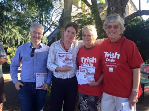 Supporting Trish Doyle MP in the Blue Mountains.