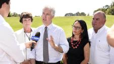 Adam announces Labor's coal seam gas policy for the Central Coast, with Kathy Smith, Linda Burney and Geoff Sundstrom.