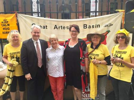 Out the front of Parliament House with Penny Sharpe MLC - standing with the Knitting Nannas and recommitting NSW Labor to putting the safety of our precious land and water ahead of coal seam gas. NSW Labor opposes the Santos Narrabri CSG proposal. November 2018