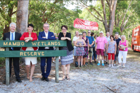 Adam at Mambo Wetlands with NSW Labor Leader, Michael Daley; Deputy Leader, Penny Sharpe and Port Stephens MP, Kate Washington to announce Labor's climate change plan, which includes introducing NSW's first renewable energy target.