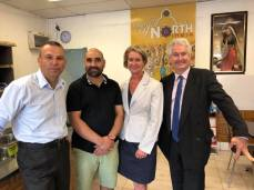 Adam Searle with Heathcote Labor's Maryanne Stuart and Legislative Council candidate Mark Buttigieg - talking with small business owner, Gurpreet, about Labor's has a plan to tackle high electricity prices by re-regulating the retail electricity market again.