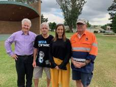 Adam Searle in Singleton talking about Labor's commitment to maximise permanent local employment in the coal mining industry in NSW, by limiting the use of contractors, casuals and labour hire at coal mines and ensuring 80% of workforces are directly employed.