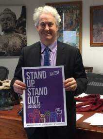 Stand up. Stand Out. Adam Searle supporting Wear It Purple Day